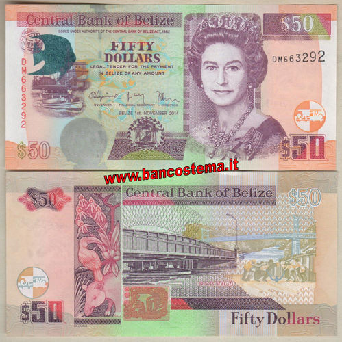 Belize 50 Dollars 2014 unc