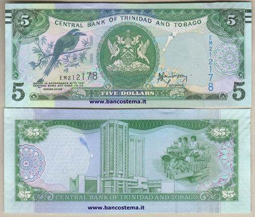 Trinidad and Tobago 5 Dollars (2016) unc