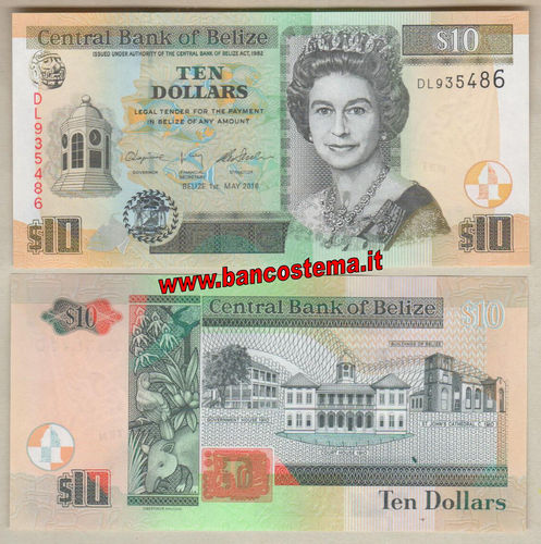 Belize P68f 10 Dollars 2016 unc