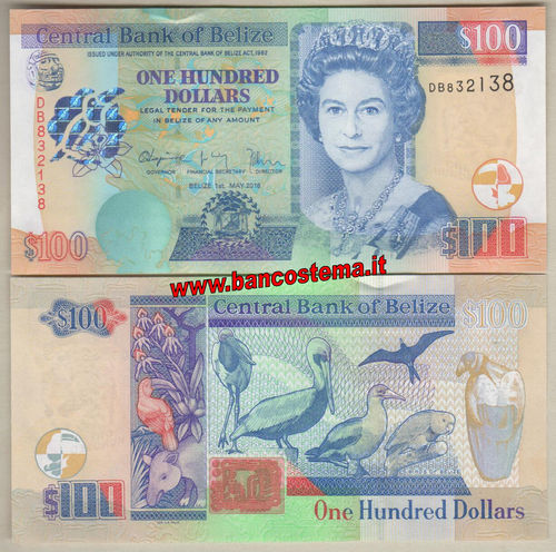 Belize P71c 100 Dollars 01.05.2016 unc
