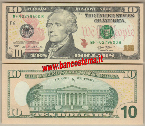 "Usa 10 Dollars ""F6"" 2013 unc - Atlanta"