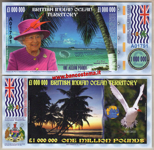 British Indian Ocean Territory 1.000.000 Pounds 2016 (2017) commemorativa - polymer