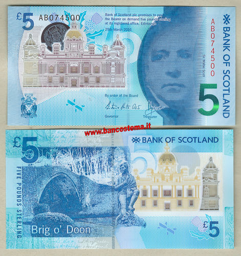 Scotland 5 Pounds 25/03/2016 (2017) BOS unc -polymer