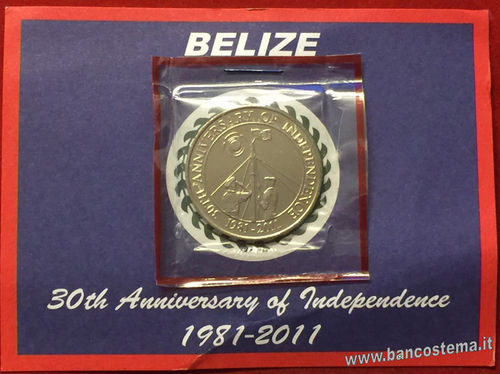 "Belize 2 Dollars 2011 commemorativa: ""30th anniversario indipendenza"""