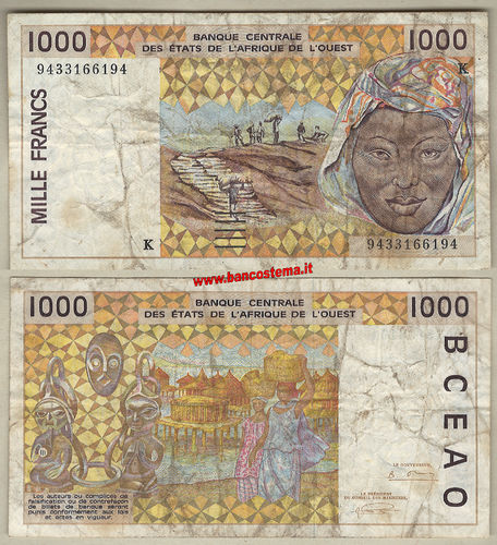 Senegal P711Kd 1.000 Francs 1994 F - W.A.S. let.K