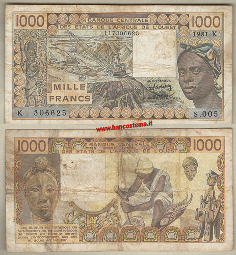 Senegal P707Kb 1.000 Francs 1981 - W.A.S. let.K