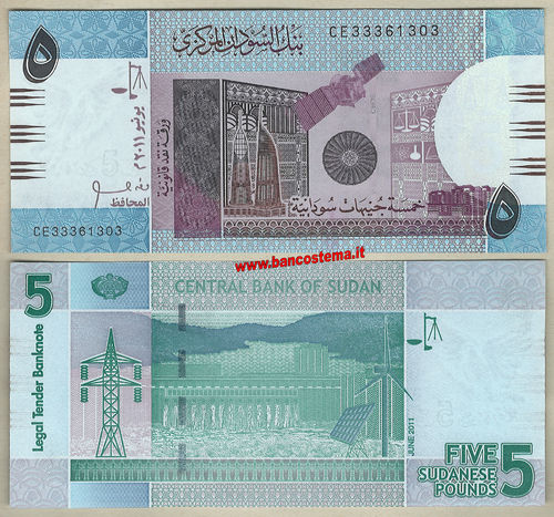 Sudan P72a 5 Pounds 06.2011 unc
