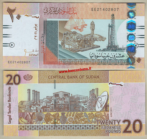 Sudan P74a 20 Pounds 06.2011 unc