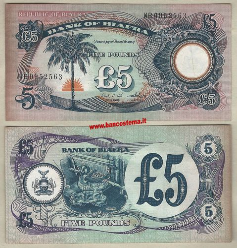 Biafra P6a 5 Pounds nd 1968-69 VF