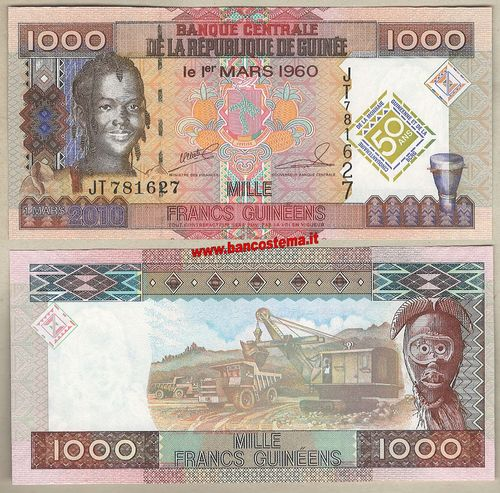Guinea P43 1.000 Francs commemorative 01.03.2010 unc