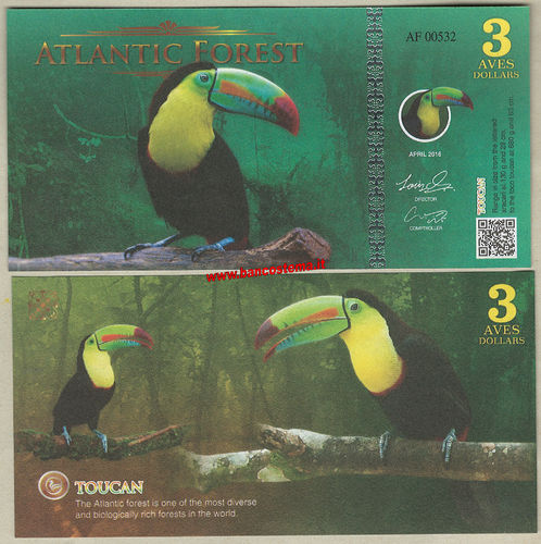Atlantic Forest 3 Aves Dollars 2016 (2017) paper unc