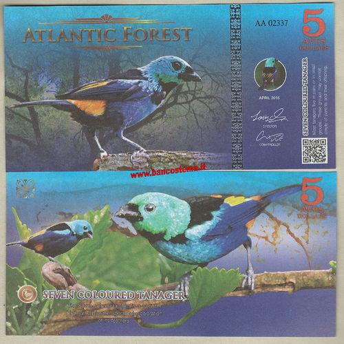 Atlantic Forest 5 Aves Dollars 2016 (2017) paper unc