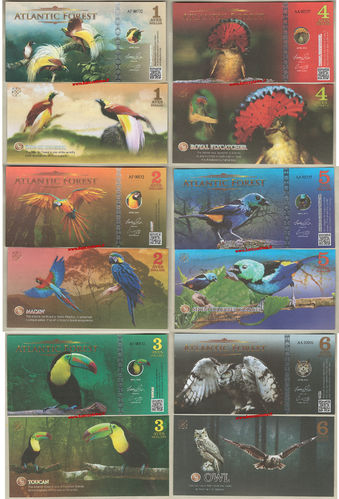 Atlantic Forest set 6 pz.1-2-3-4-5-6 aves aprile 2016 (2017) paper unc