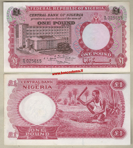 Nigeria P8 1 Pound nd 1967 unc-