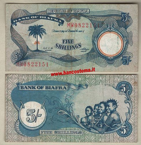 Biafra P3a 5 Shillings nd 1968-69 VF+