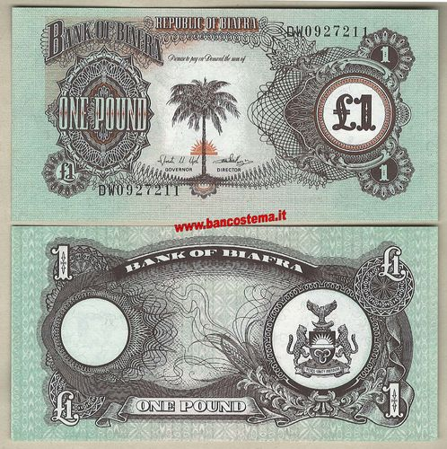 Biafra P5a 1 Pounds nd 1968-69 unc