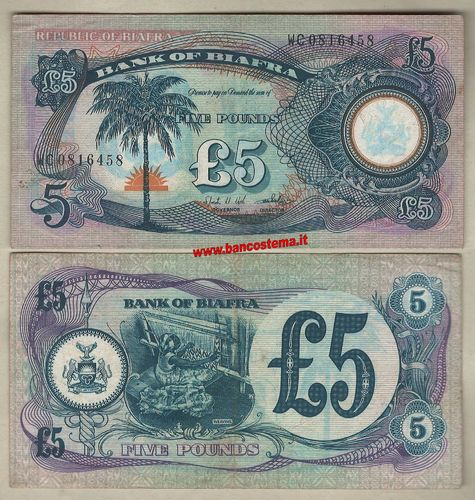 Biafra P6a 5 Pounds nd 1968-69 FVF