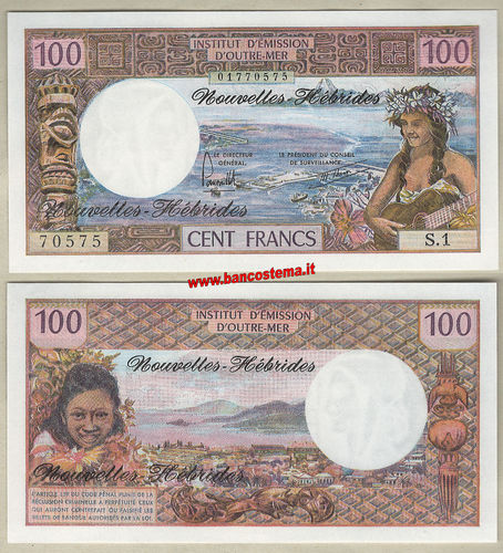 New Hebrides P18d 100 Francs nd 1977 unc