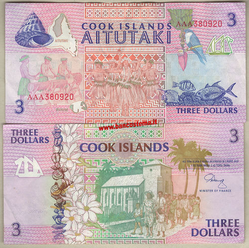 Cook Islands P7a 3 Dollars nd 1992 vf