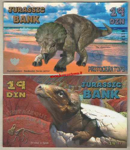 Jurassic Bank 19 Din 2015 polymer unc serie IV
