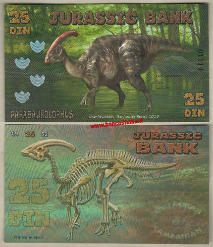 Jurassic Bank 25 Din 2015 polymer unc serie IV
