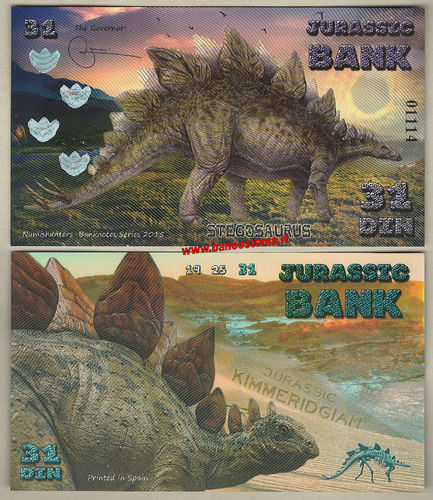 Jurassic Bank 31 Din 2015 polymer unc serie IV