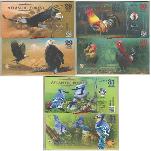 Atlantic Forest 29-30-31 Aves Dollars set 3 pz. marzo 2017 paper unc