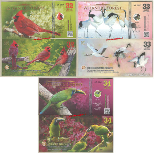 Atlantic Forest 32-33-34 aves dollars set 3 pz. maggio 2017 paper unc