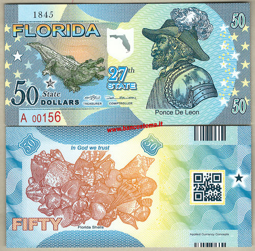 Usa 50 dollars - Florida 27th State 2°versione unc polymer