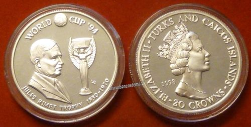 Turks and Caicos Islands 20 Crowns 1993 silver proof Jules Rimet Trophy