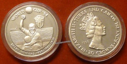 Turks and Caicos Islands KM99 20 Crowns 1993 silver proof Pelè