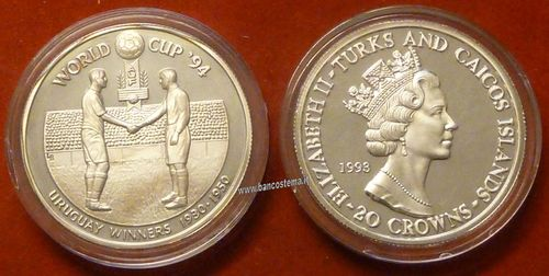 Turks and Caicos Islands KM96 20 Crowns 1993 silver proof world cup 94 vincitore Uruguay