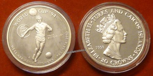 Turks and Caicos Islands KM98 20 Crowns 1993 silver proof world cup 94 FRANZ BECKENBAUER