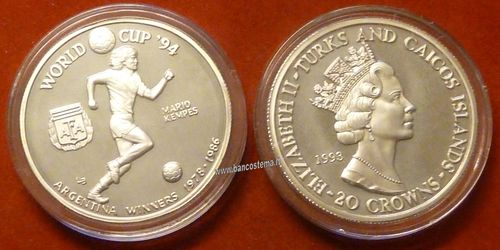 Turks and Caicos Islands KM101 20 Crowns 1993 silver proof world cup 94 Mario Kempes