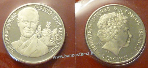 Turks and Caicos Islands 5 Crowns 1999 commemorativa matrimonio principe Edward
