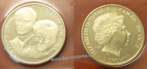 Turks and Caicos Islands 5 Crowns 1999 commemorativa matrimonio principe Edward e Sophie insieme
