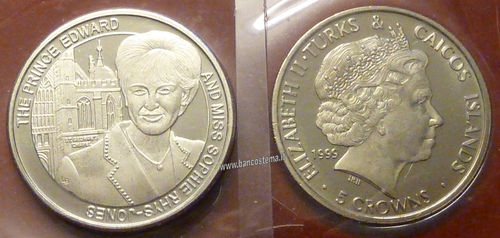 Turks and Caicos Islands 5 Crowns 1999 commemorativa matrimonio Sophie Rhys-Jones