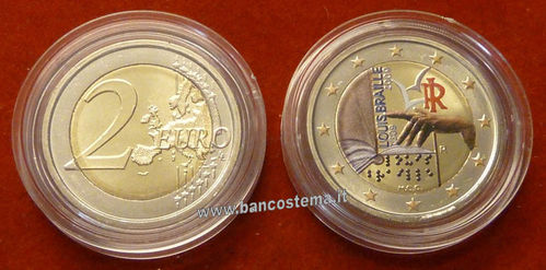 "Italia 2 euro 2009 commemorativo ""Luise Braille"" COLOR unc"
