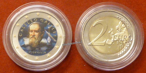 "Italia 2 euro 2014 commemorativo ""Galileo Galileii"" COLOR II versione unc"