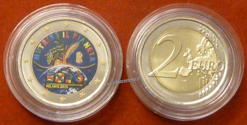 "Italia 2 euro 2015 commemorativo ""Expo"" COLOR unc"