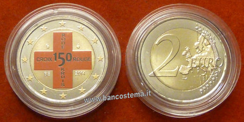 "Belgio 2 euro commemorativo 2014  ""Croce Rossa"" COLOR unc"