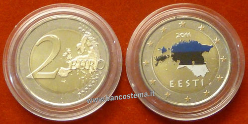 "Estonia 2 euro ""mappa Estonia"" 2011 fdc"