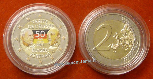 "Germania 2 euro commemorativo 2013 ""Trattato Eliseo"" FDC COLOR"