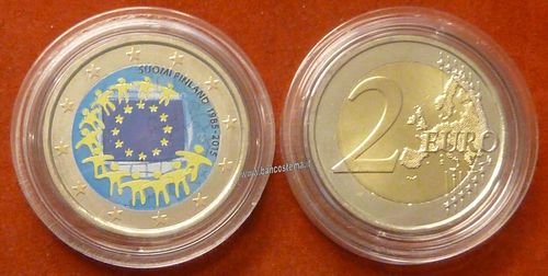 "Finlandia 2 euro 2015 commemorativo ""bandiera europea"" COLOR unc"