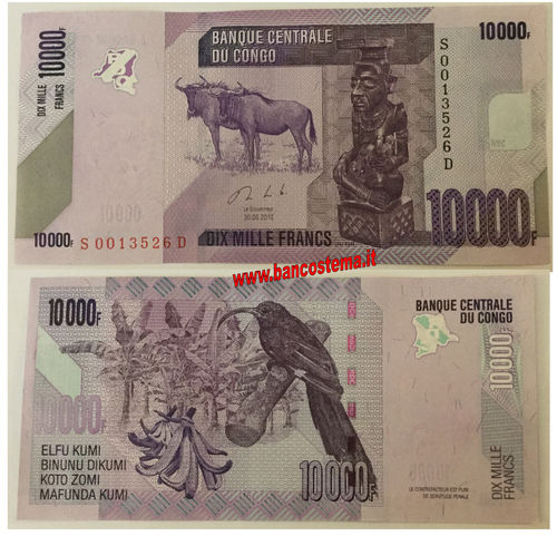 Congo Democratic Republic P103b 10.000 Francs 30.06.2013 (2017) unc
