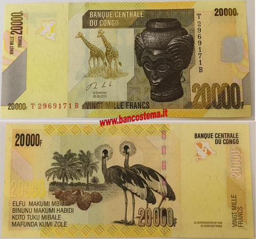 Congo Democratic Republi 20.000 Francs 30.06.2013 (2017) unc