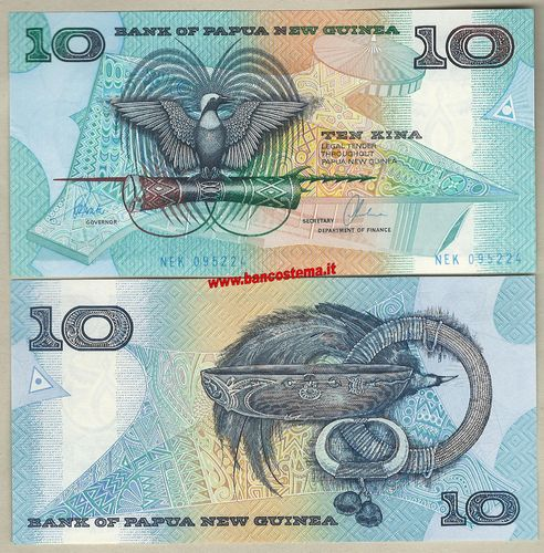 Papua New Guinea P9d 10 Kina nd 1988-98 unc