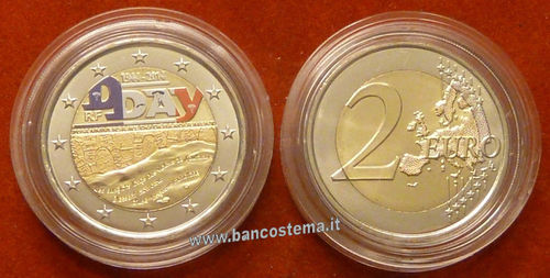 "Francia 2 euro commemorativo ""D-Day"" 2014 fdc color"