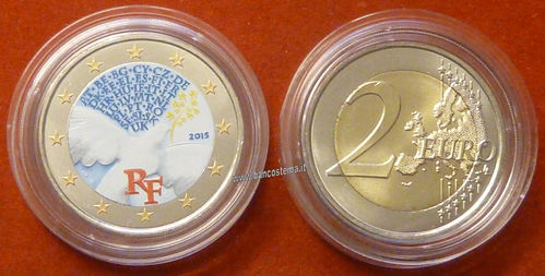 "Francia 2 euro commemorativo ""Pace in Europa"" 2015 fdc color"
