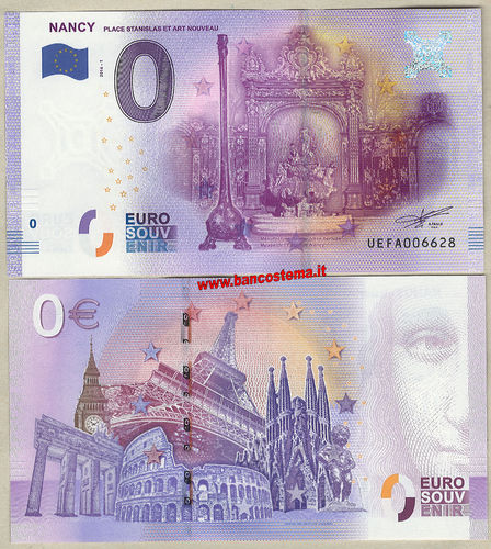 Euro 0 turistique NANCY - PLACE STANISLAS ET ART NOUVEAU (France) 2016-1 unc